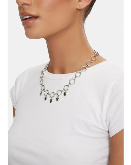 Silver Heart On Lock Charm Necklace