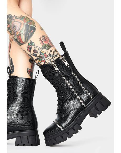 Kronos Snakeskin Combat Boots