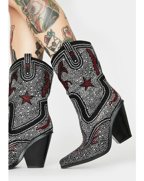 Hype Me Up Rhinestone Cowboy Boots
