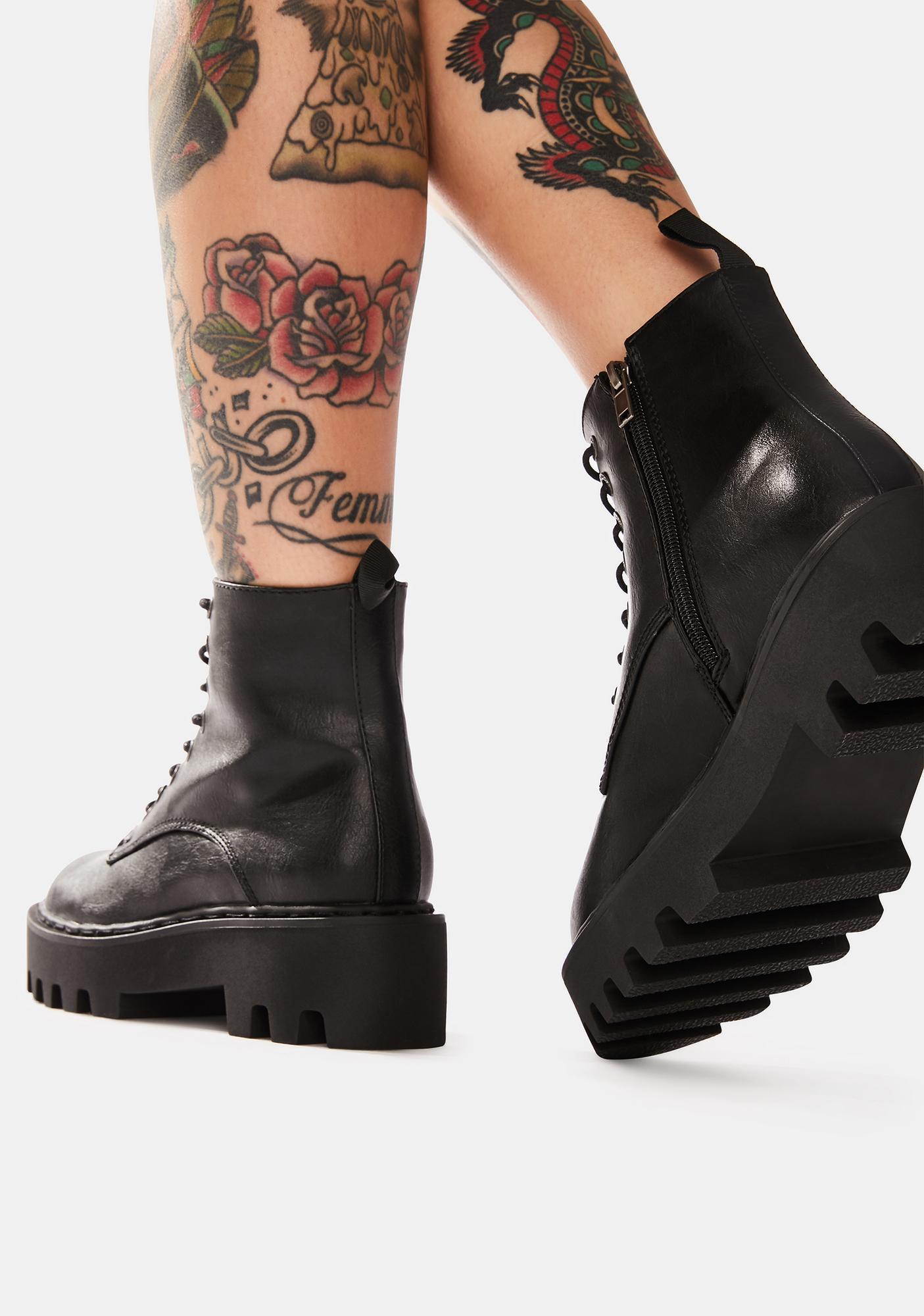 Lamoda Night Bikers Mischief Lace Up Boots