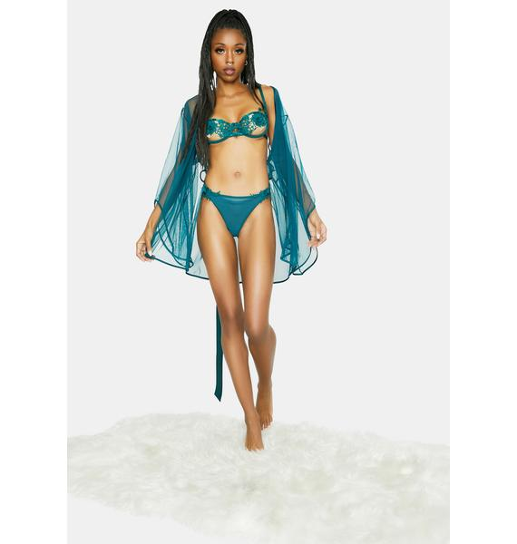 Oh la la Cheri Teal Sydney Embroidered Lingerie Set