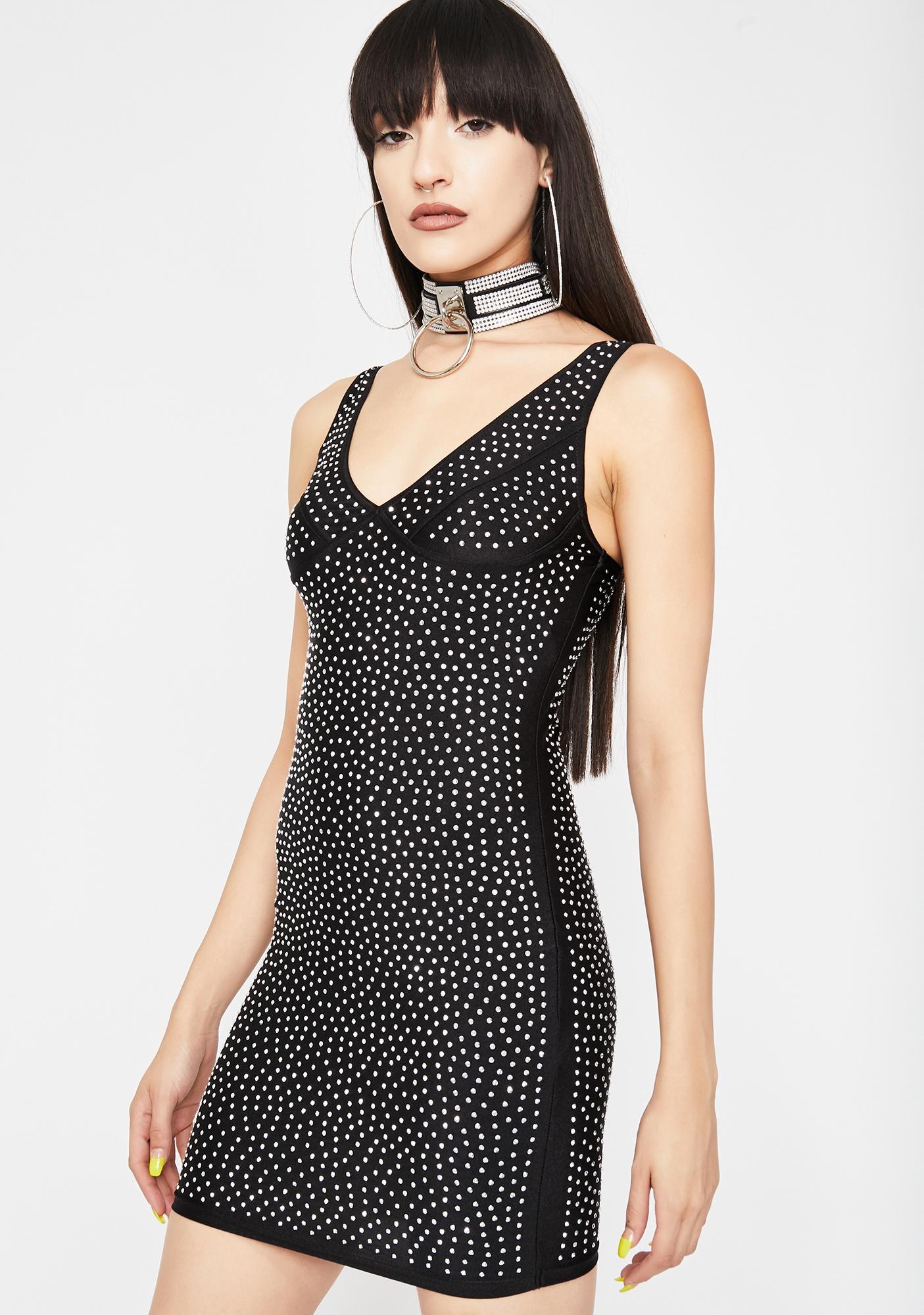 Night Galactic Glare Rhinestone Dress