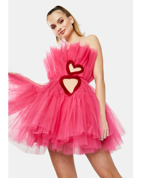 Fuchsia Heart Cutout Tulle Mini Dress