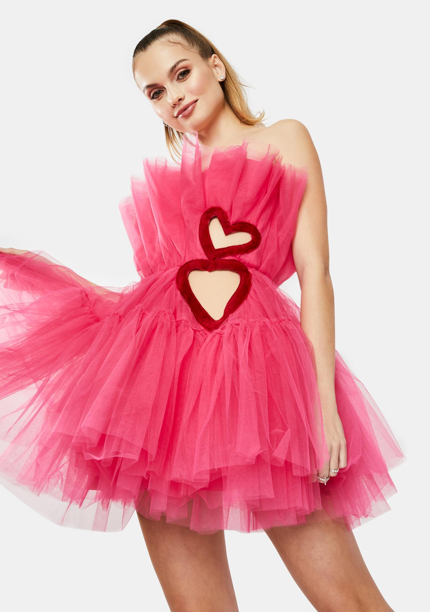 Kiki Riki Fuchsia Heart Cutout Tulle Mini Dress
