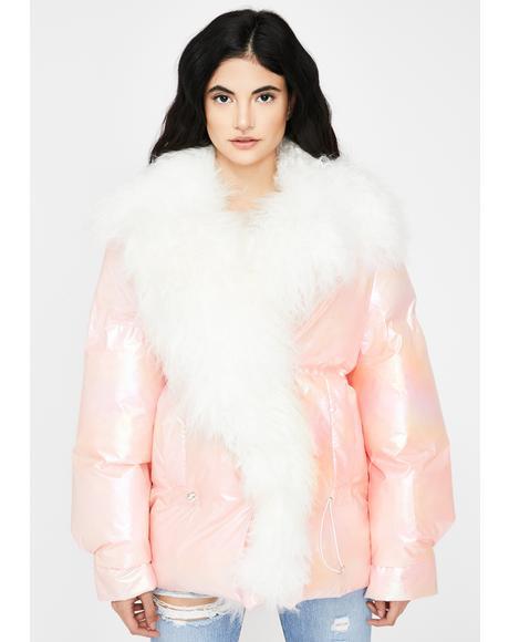 Metallic Pink Lama Puffer Jacket