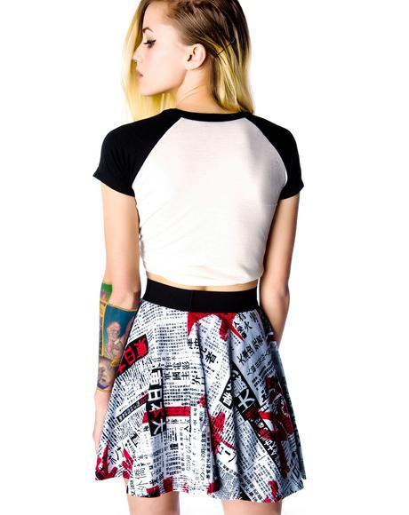 Japanese Printed Circle Mini Skirt