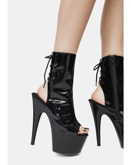 Handlin' Business Open Toe Platform Booties