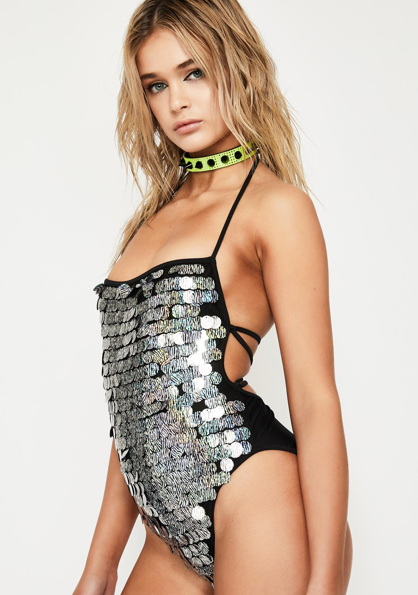 Jaded London Zebra Disc Sequin Swimsuit