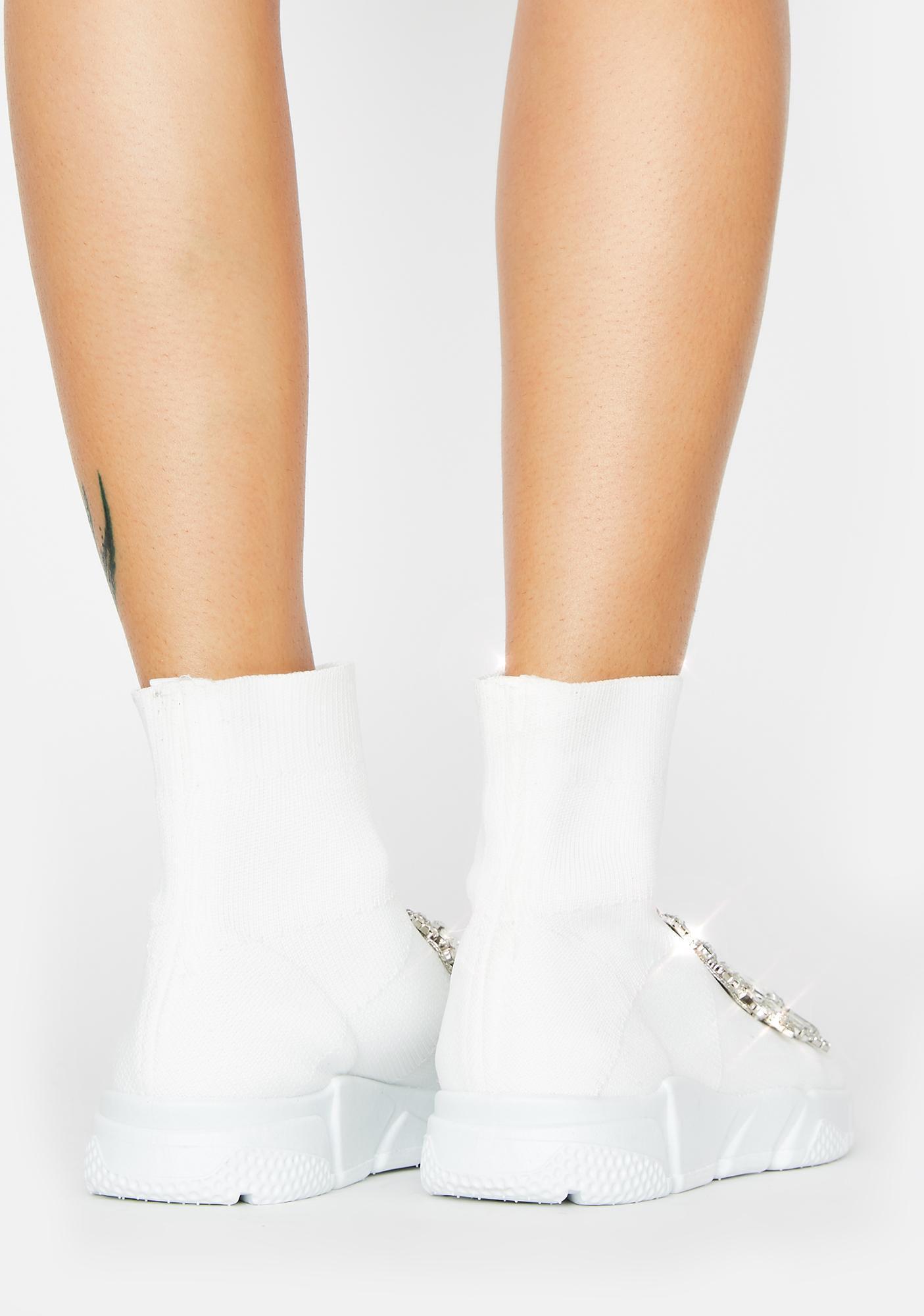 AZALEA WANG White Siren Rhinestone Sock Boots