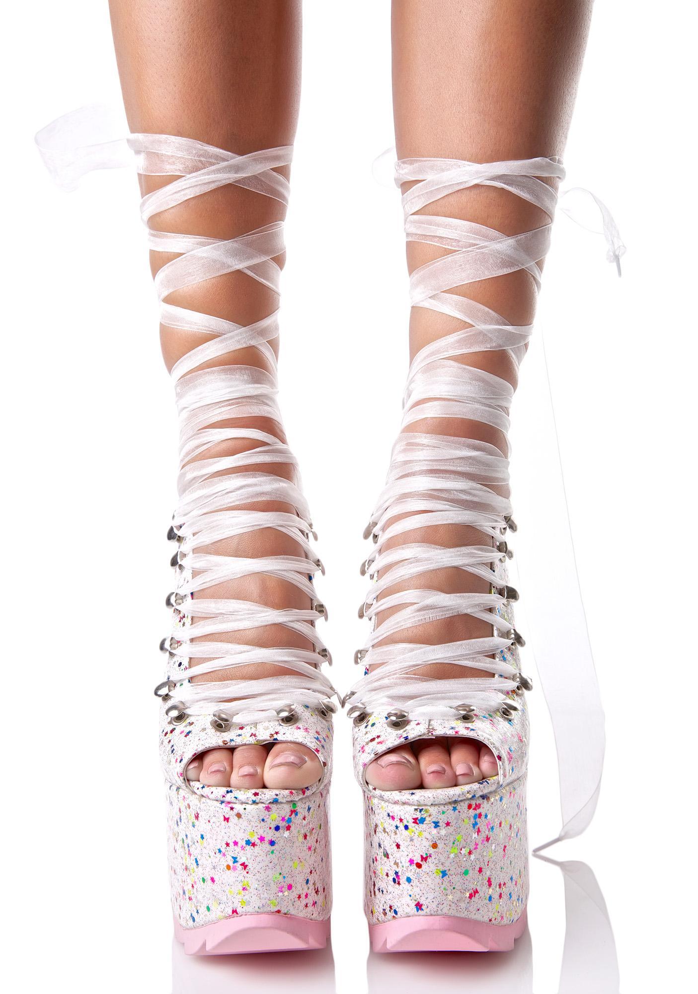 Y.R.U. White Sparkle Ballet Bae Platforms