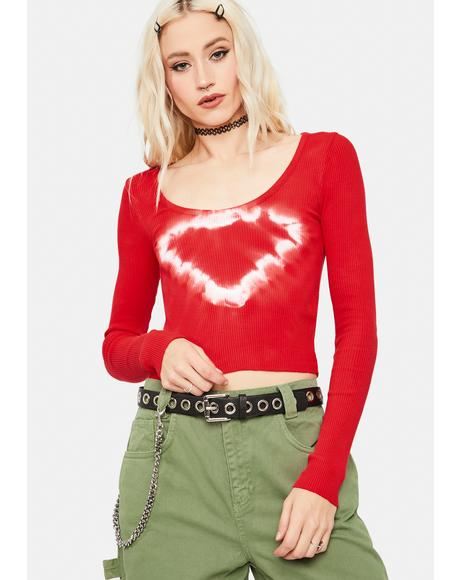 Ribbed Heart Tie Dye Scoop Top