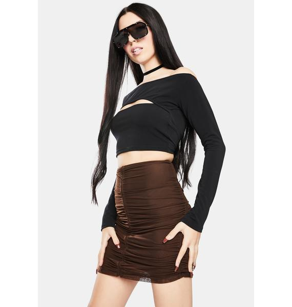 Motel Chocolate Mesh Solena Ruched Mini Skirt