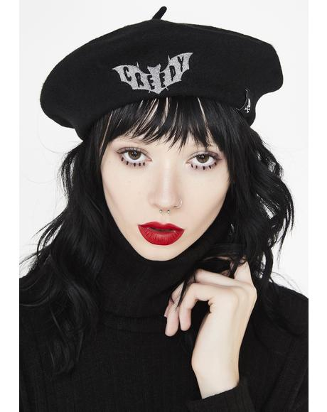 Creepy Embroidered Beret
