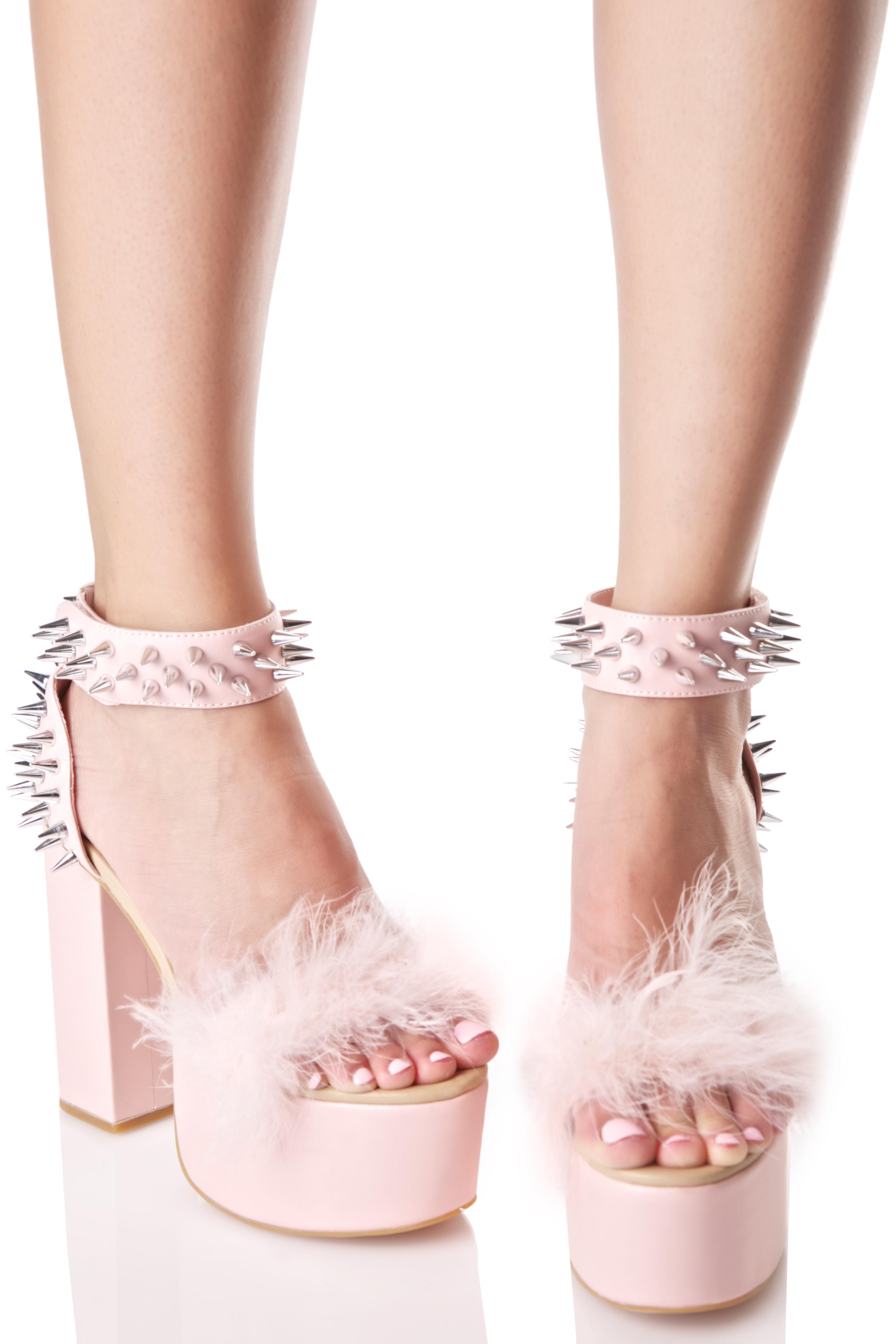 Pink Punk Spike Fuzzy Platform Heels