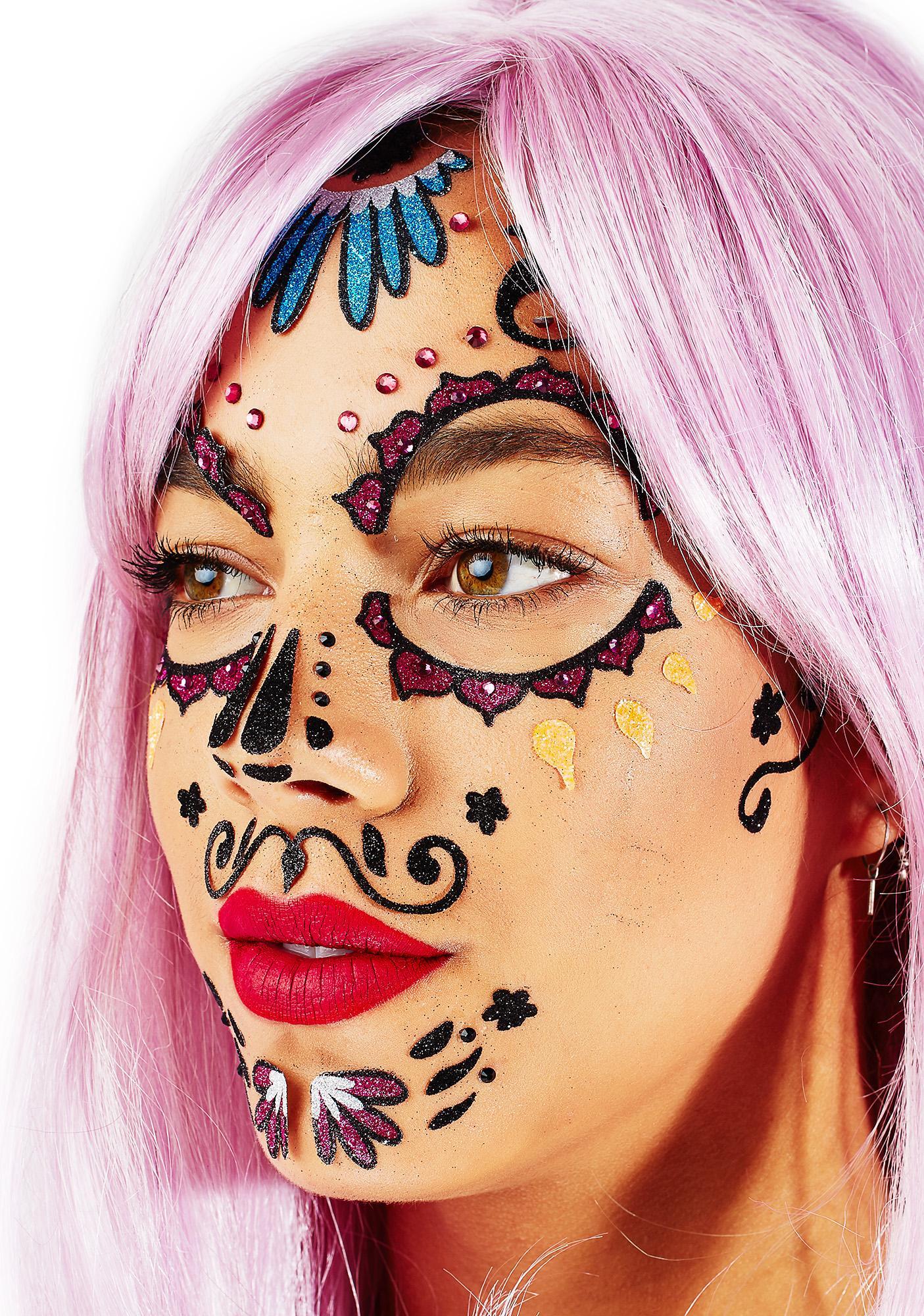 Love And Madness Dia De Los Muertos Face Jewels