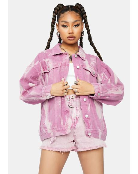 Blush Go My Own Way Tie Dye Denim Jacket