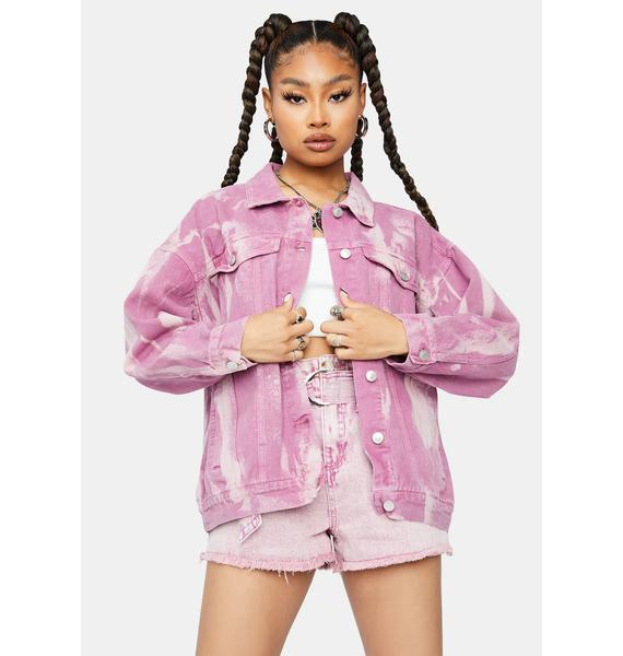 Blush Go My Own Way Tie Dye Denim Jacket