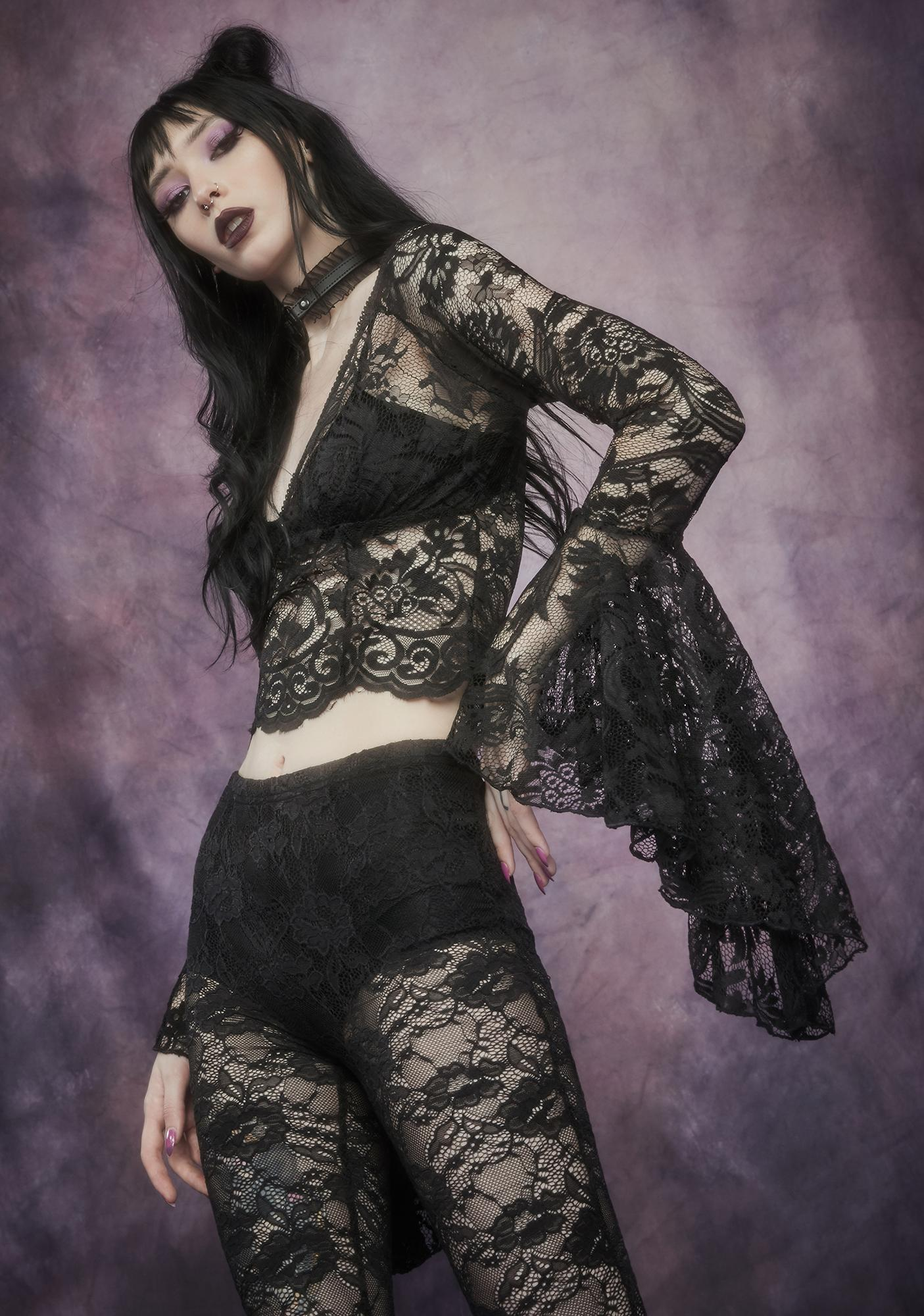 Widow Shadows Of Moonlight Lace Bell Sleeve Top