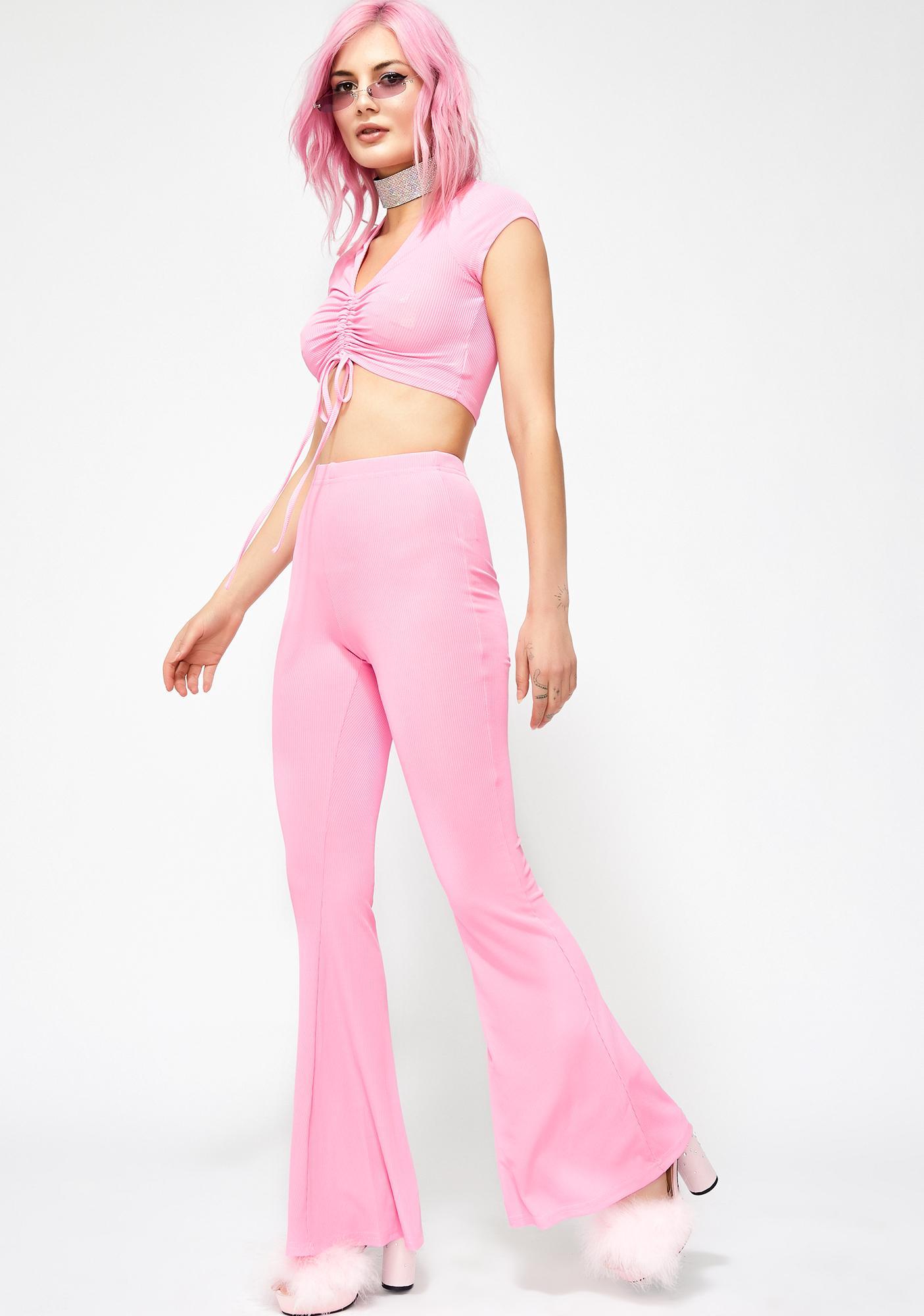 24f798c118240 Pink Crop Top Flared Pants Set | Dolls Kill