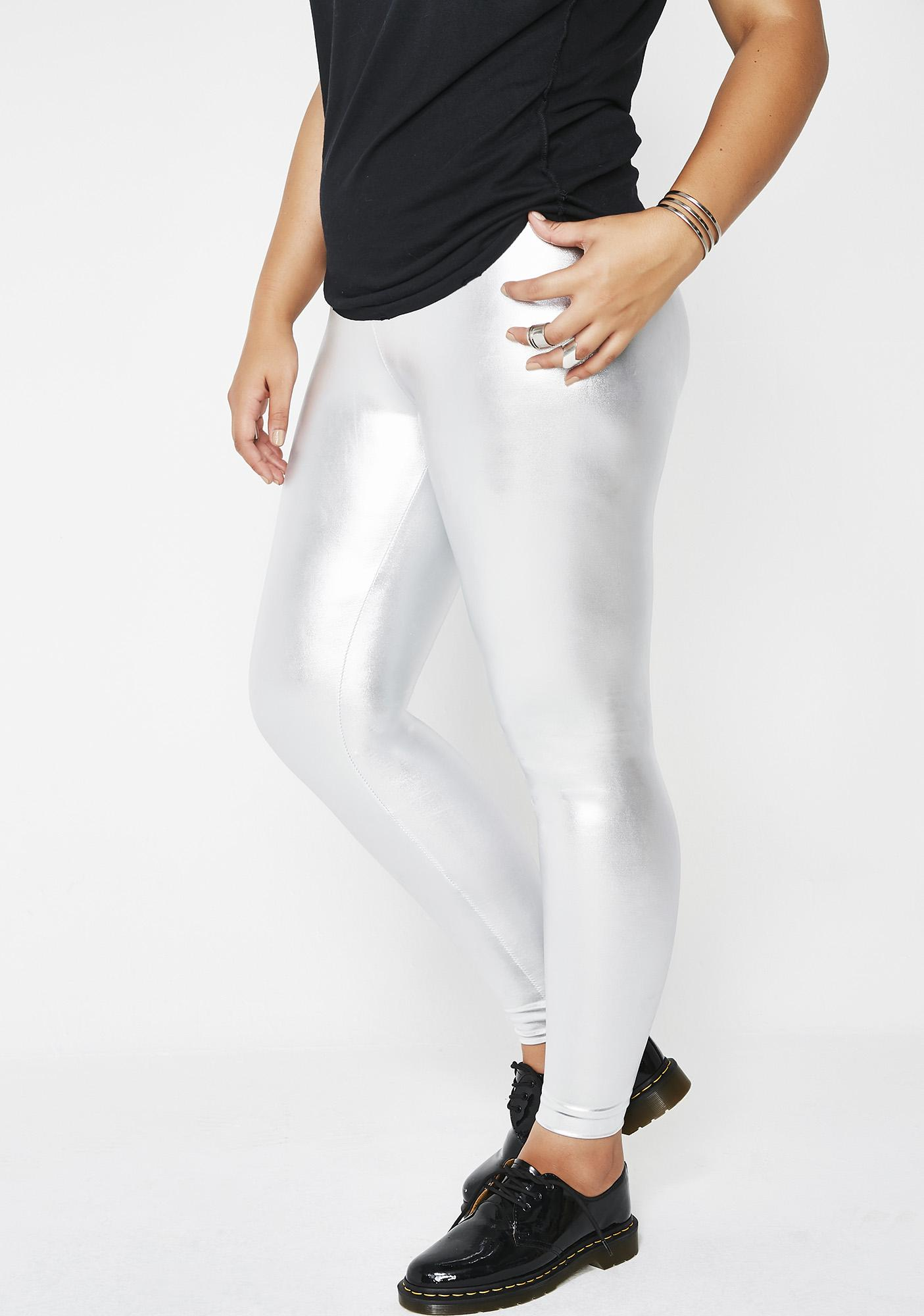 091bd1cc6d9fa Silver Plus Size Metallic Leggings | Dolls Kill