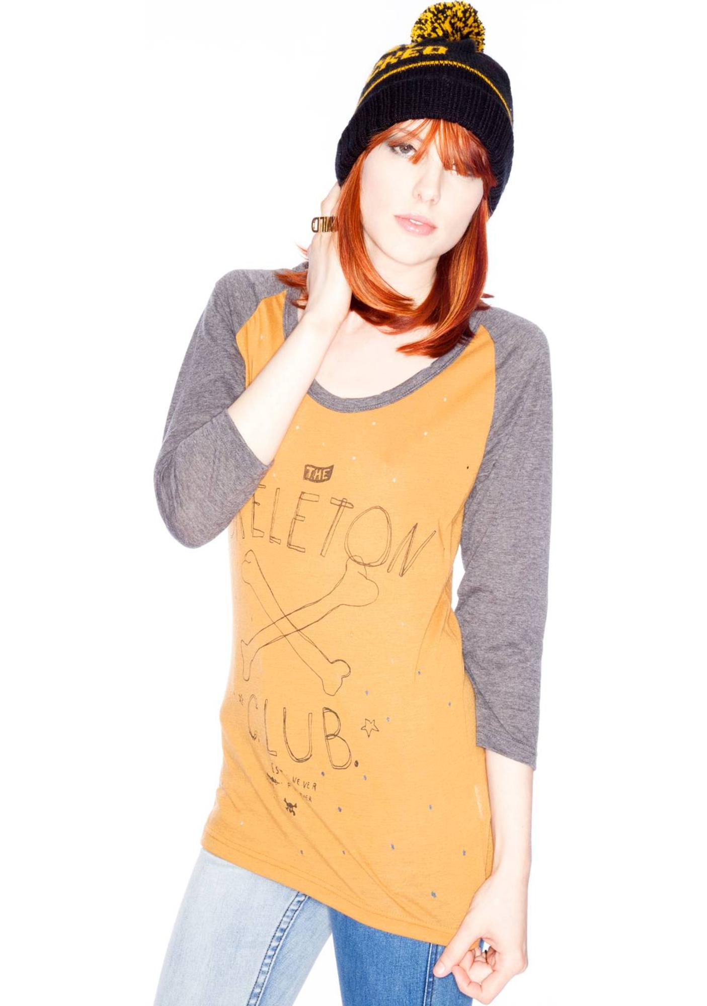 One Teaspoon Skeleton Club Bobyjo Raglan