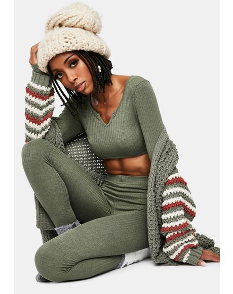 Olive Jet Setting Love Crop Top Leggings Set