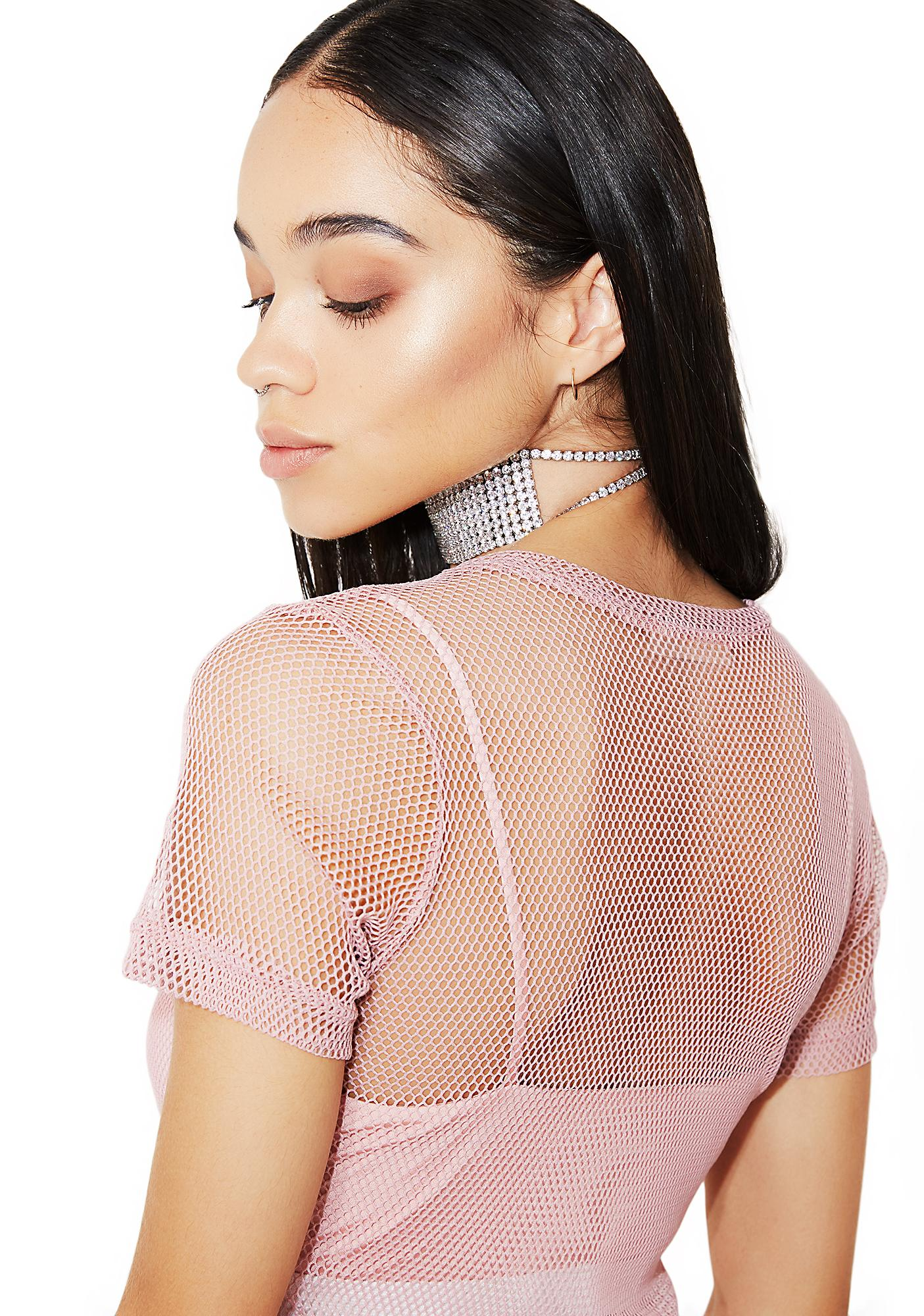 Blush In My Element Fishnet Top