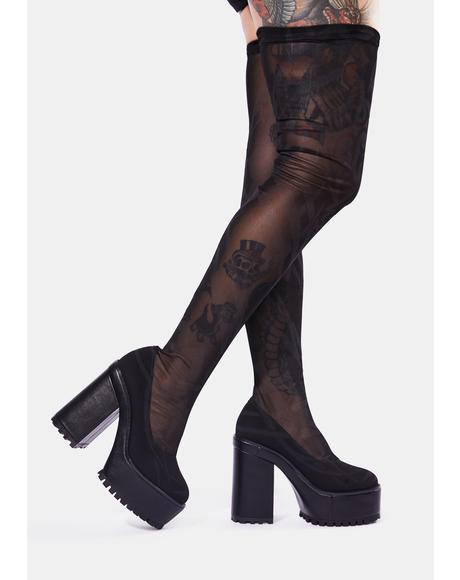 Snare Tattoo Print Mesh Thigh High Boots