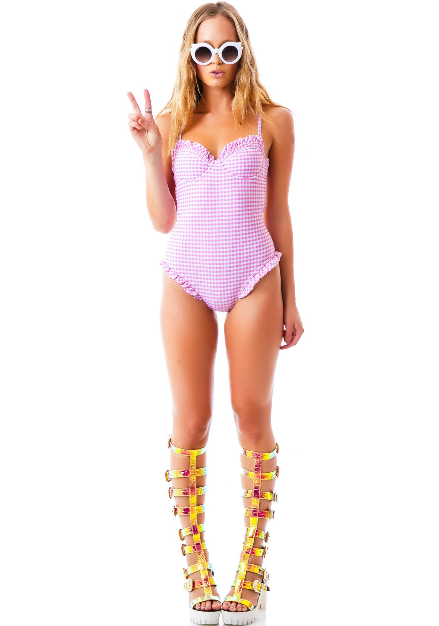 Wildfox Couture Gingham Ruffle One Piece