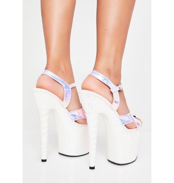 Pleaser Glitter Unicorn Platform Heels