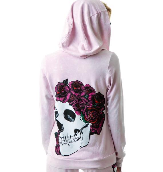 Lauren Moshi Rose Skull Candy Zip Up Hoodie