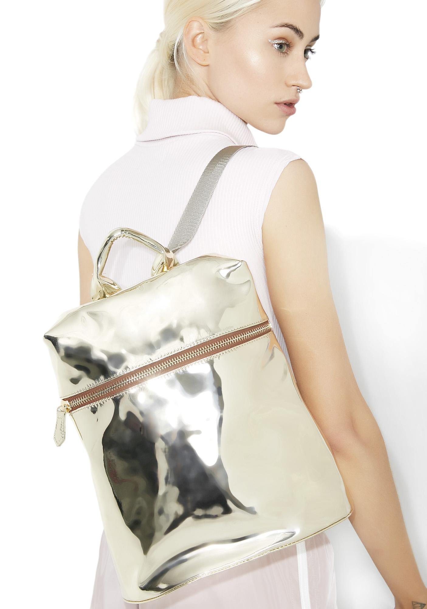 Gold Technoglow Metallic Backpack