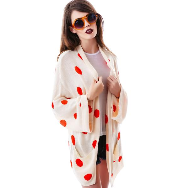 Wildfox Couture Polka Dots Slouch Cardi
