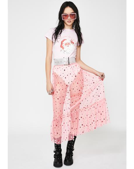 Pink Mesh Star Midi Skirt