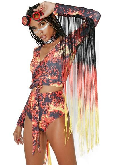 Phoenix Fire Fringe Crop Top