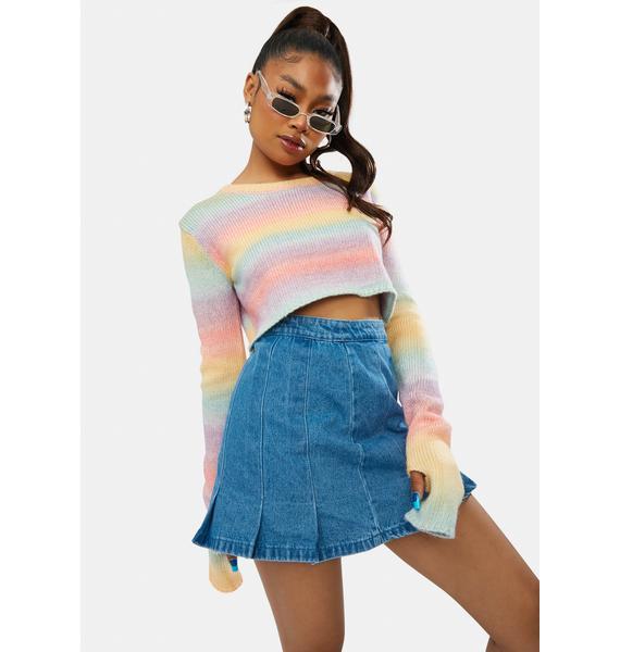 Social Diva Pleated Denim Skirt