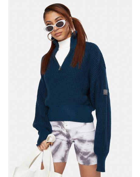 Blue Half Zip Fisherman Sweater