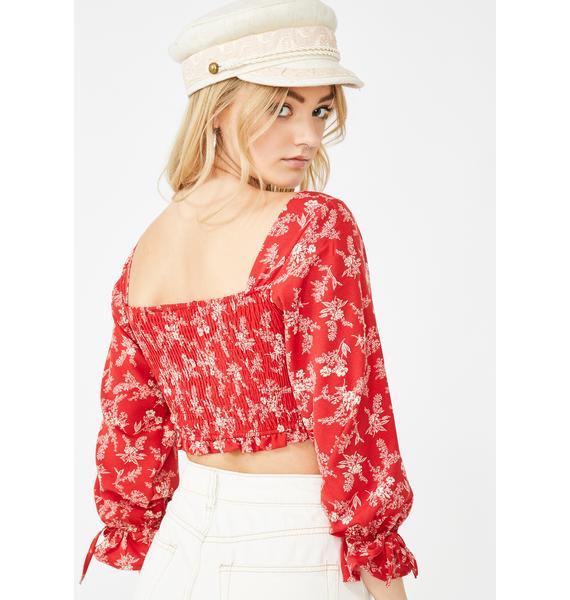 Momokrom Red Floral Ruched Crop Top