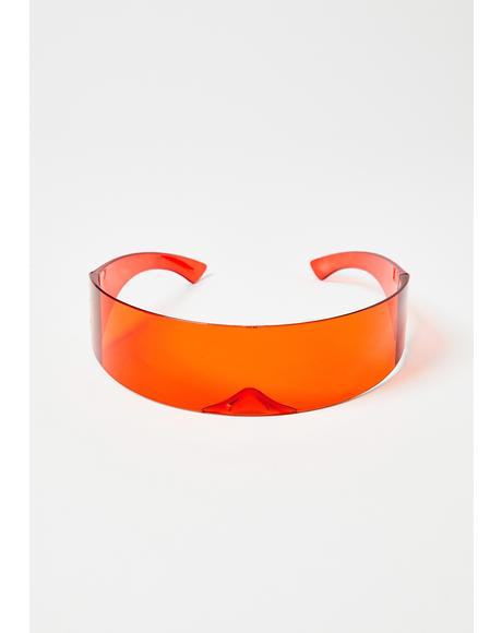 Flame Warped Energy Shield Sunglasses