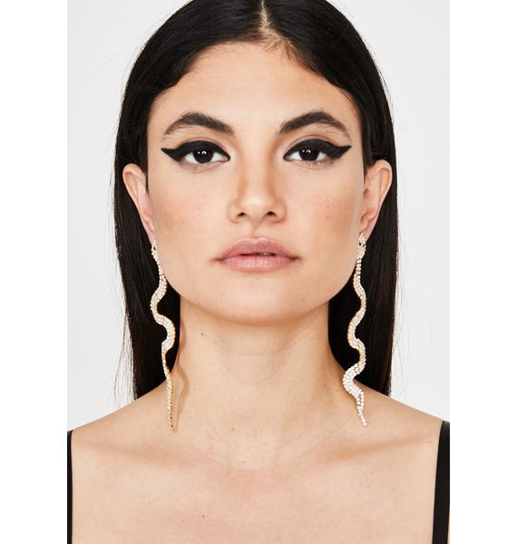 Golden Dangerous Diva Snake Earrings