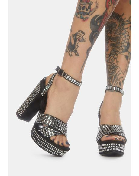 Night Well Spent Sparkle Platform Heels