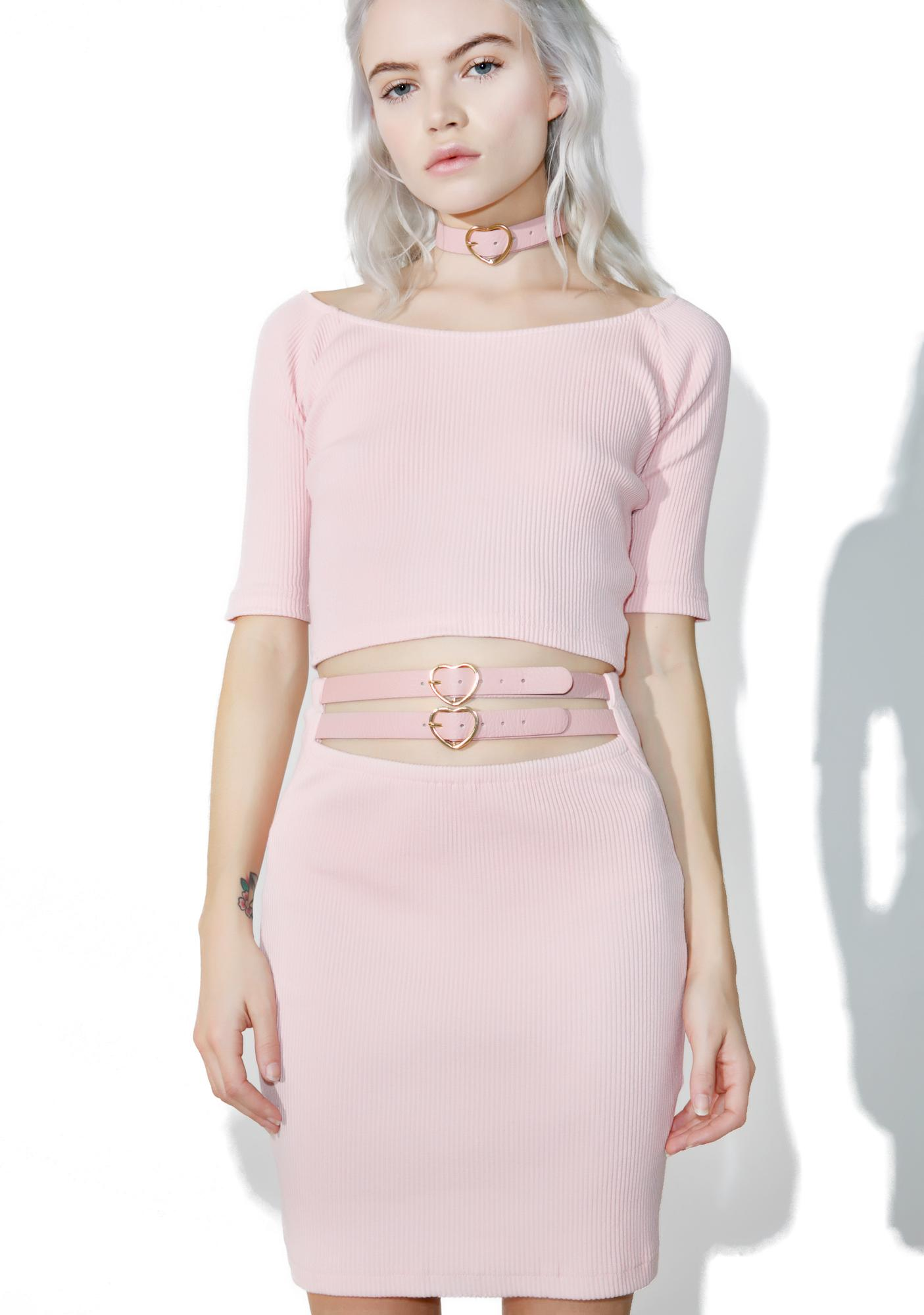 one spo Candy Heart Belt Mini Skirt