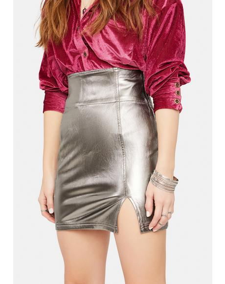 Holding Onto A Dream Metallic Mini Skirt