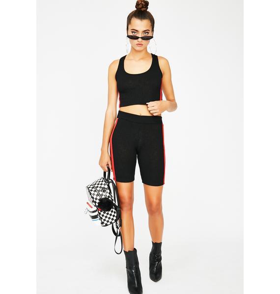 Rock n Rose No Competition Ribbed Biker Shorts