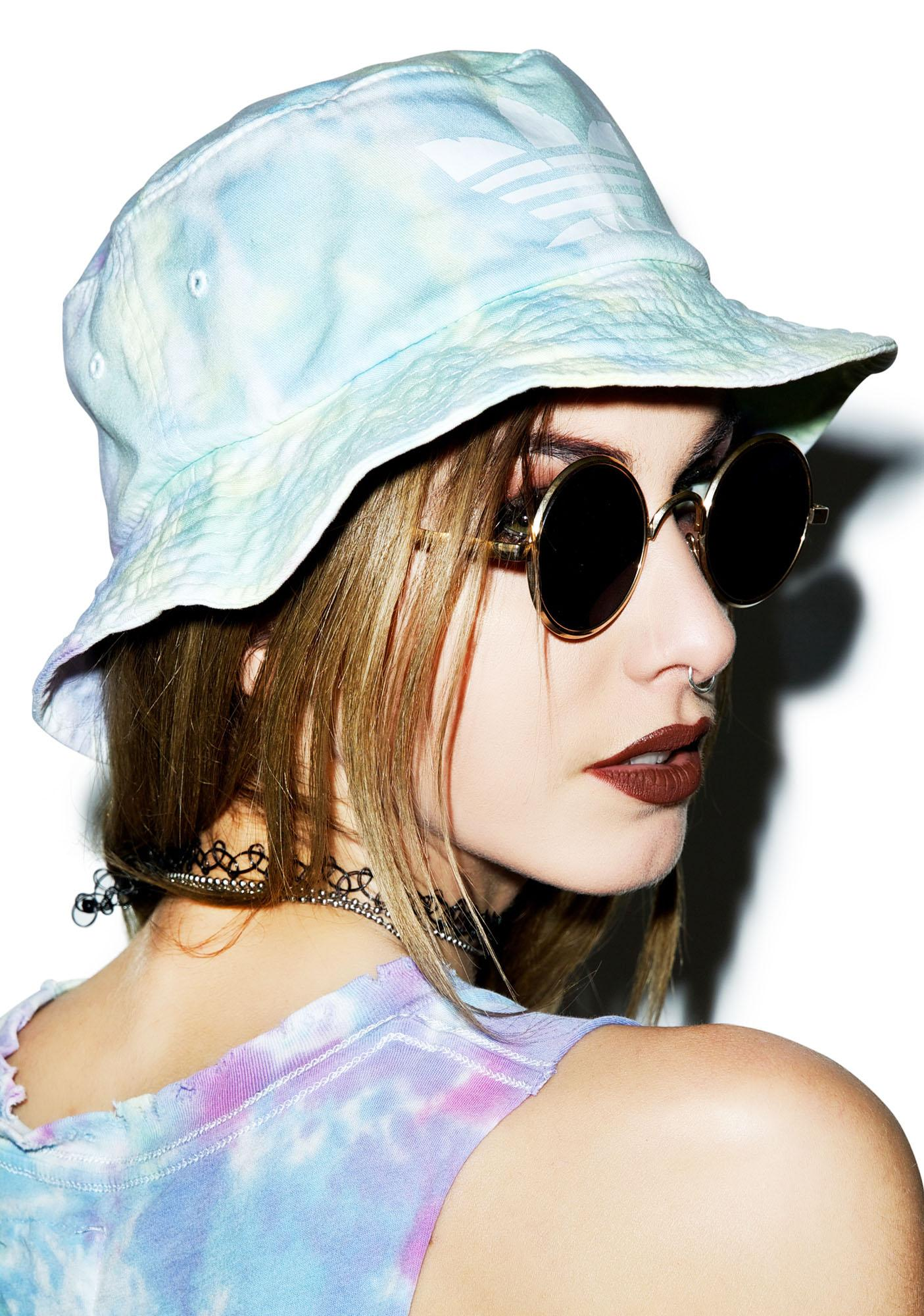 Petals and Peacocks Mary Jane Tie Dye Bucket Hat