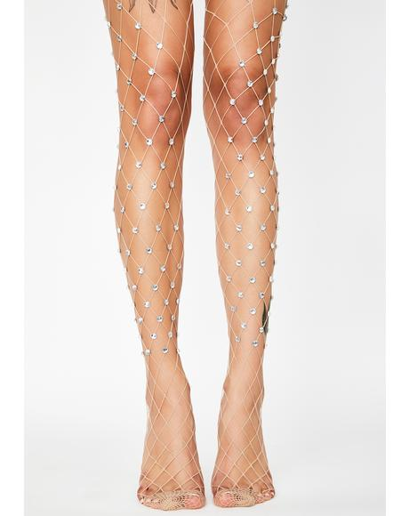 Bare Glitz Rock Rhinestone Fishnet Tights