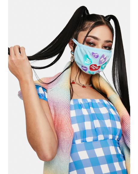 Sugar Junkie Candy Hearts Face Mask