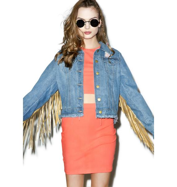 Real Americana Fringed Denim Jacket
