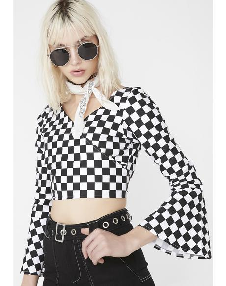 Checkerboard Wrap It Top