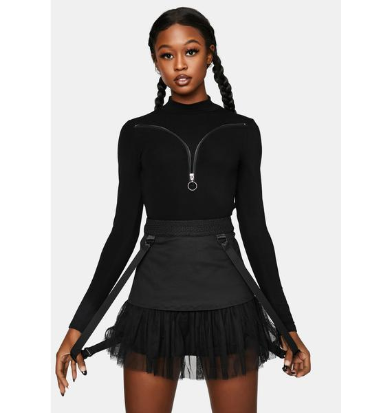 Punk Rave Mesh Patchwork High Waisted Skirt